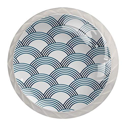 Pomos de cristal para armario con tornillos, básculas Sashiko, color blanco y azul (juego de 4)