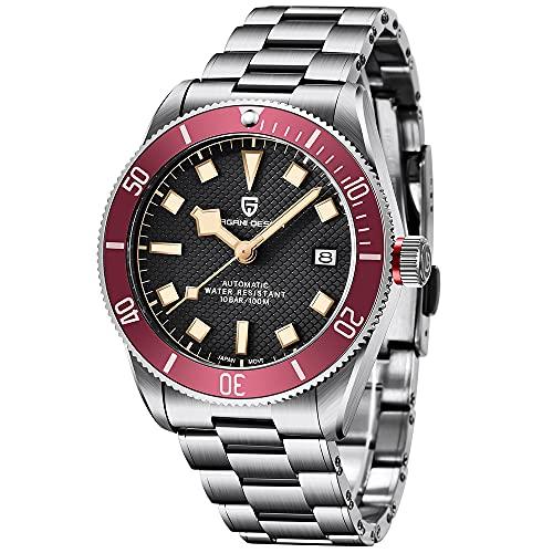 Pagani Design - Reloj de Pulsera para Hombre, Color Negro Bay Homage 42 mm, Movimiento automático japonés, Cristal de Zafiro, Acero Inoxidable 316L, Resistente al Agua 100 m