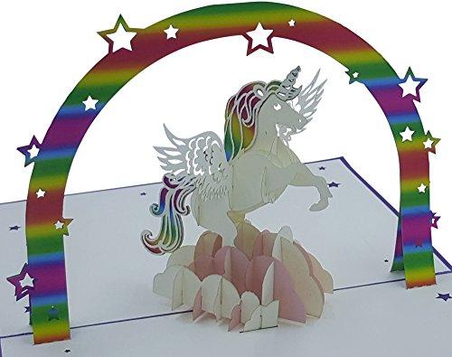 Carte d'anniversaire 3D - Motif: Licorne - Cartes Pop-Up - fait main - enveloppe inclusive et housse de protection - Carte de voeux, carte de félicitation, carte cadeau