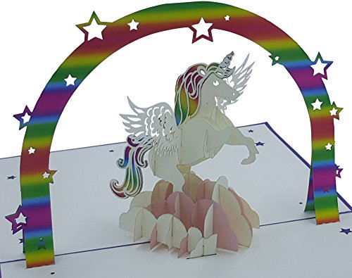 3D Birthday Card - Motif: Unicorn - Pop-Up Cards - Handmade - Inclusive Envelope and Protective Cover - Greeting Card, Congratulation Card, Gift Card