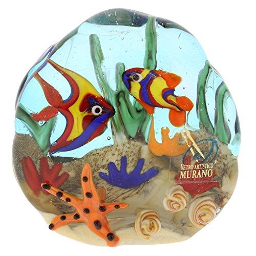 GlassOfVenice Murano Glass Sea Floor Aquarium Paperweight Sculpture