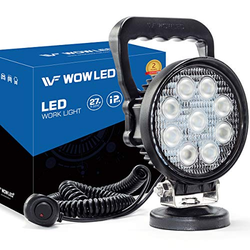 WF Magnet Light Bar, Magnetic Base, Cigarette Lighter Powered, Portable LED Flood Light Work Lamp for Car Off-road SUV Trailer Tractor Truck Engineering Maintenance Garage Camping (27W Round)