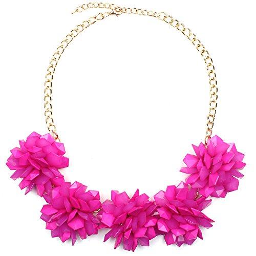 Claire Jin Jalea Collar Flores Joyería Mujer Verano Playa Flor Acrílico Collares Mujeres Joven Accesorios 15 Colores (Fucsia)
