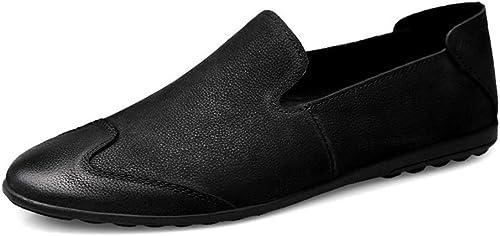 DINGGUANGHE-chaussures Cuir Verni Mode Homme Mocassins Confortables et légers, surpiqués individuels, Mocassins légers pour Bateaux Chaussures habillées (Couleur   Noir, Taille   46 EU)