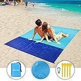 "Eclawen Sand Free Beach Blanket, Oversized 82"" X79"" Waterproof Beach Mat for 4-7"