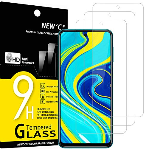NEW'C Lot de 3, Verre Trempé Compatible avec Xiaomi Redmi Note 9S, 9 Pro, 9 Pro Max, Film Protection écran Ultra Résistant (0,33mm HD Ultra Transparent) Dureté 9H Glass