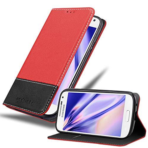 Cadorabo Hülle für Samsung Galaxy S4 Mini - Hülle in ROT SCHWARZ – Handyhülle mit Standfunktion und Kartenfach aus Einer Kunstlederkombi - Case Cover Schutzhülle Etui Tasche Book