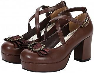 [next.design] ロリータ シューズ 靴 アンクルストラップ リボン付 (36(23.0cm), ブラウン)