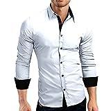 HULKY Vendita Camicia Uomo, Manica Lunga Bavero T Shirt Formale Slim Fit Top Camicetta Camicie e casacche Venerdì Nero Vestiti(Bianco,Medium)