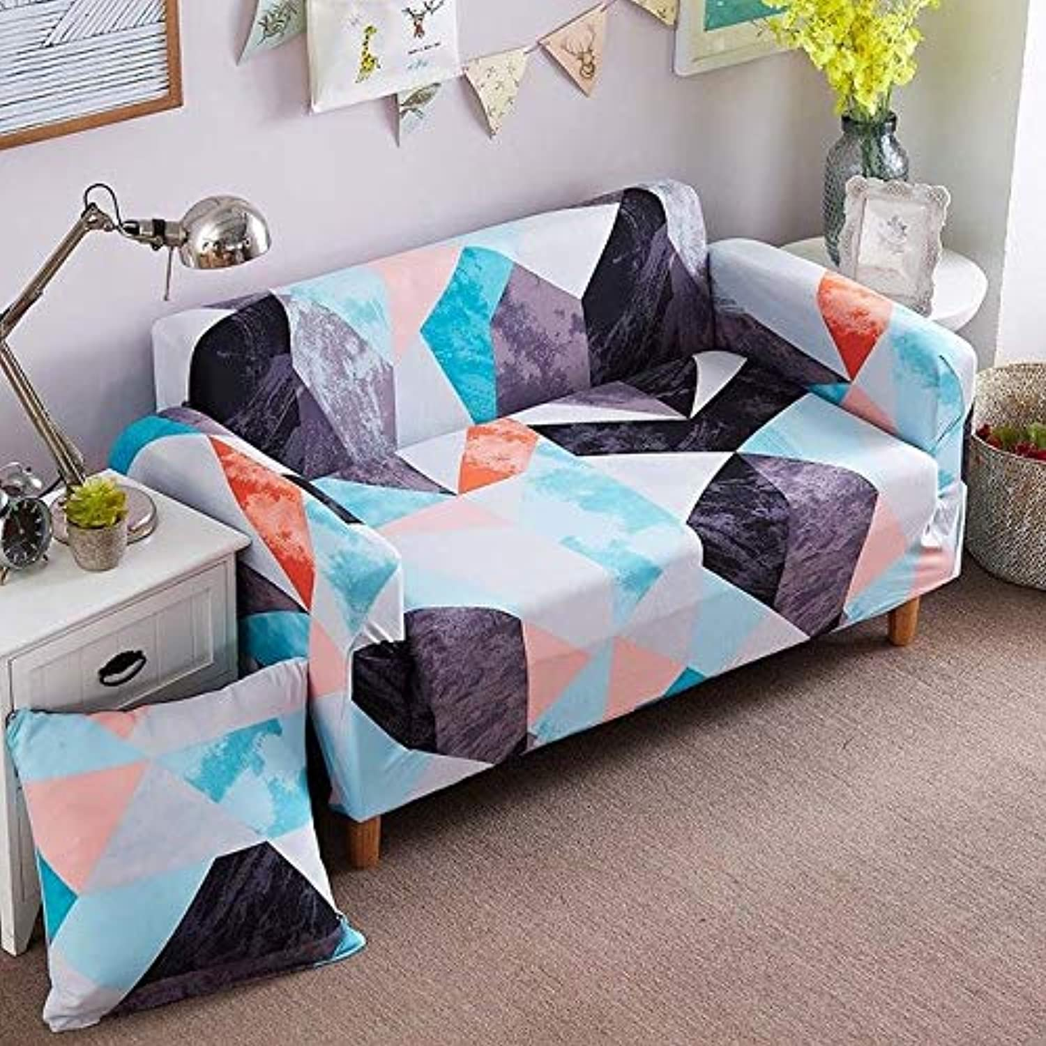 Farmerly 1pcs Flower Leaf Pattern Soft Stretch Sofa Cover Home Decor Spandex Furniture Covers Decoration Covering Hotel Slipcover 58329   V, Two seat