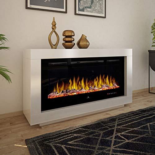 Noble Flame Ohio – moderner Design Elektrokamin Standkamin Kaminofen – LED Feuerambiente inkl. Heizfunktion – Feuerraum 97 cm - schwarz