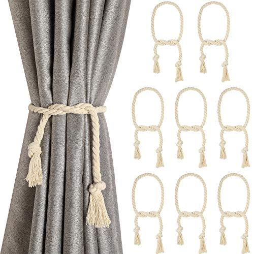 Tatuo 8 Stücke Vorhang Seil Raffhalter Vorhang Seil Rückhalt Handgefertigte Vorhang Raffhalter Ländlich Stil Vorhang Dekorative Rückhalt für Vorhang Raffhalter, Vorhang (Beige)