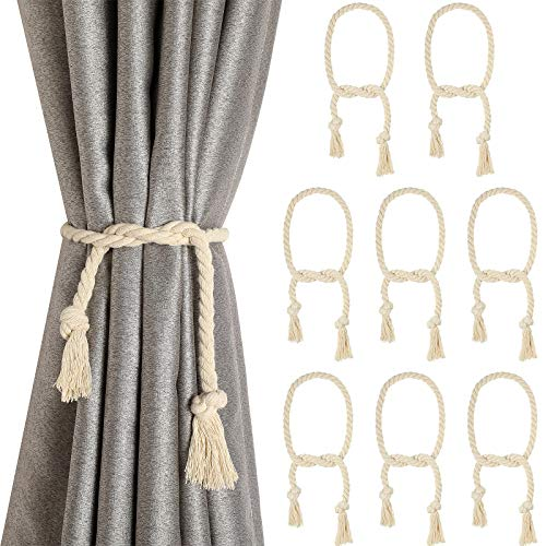 8 Pieces Curtain Rope Tiebacks Curtain Rope Holdback Handmade Curtain Tie Backs Rural Style Curtain Decorative Holdbacks for Drapery Tieback, Window Sheer, Curtain