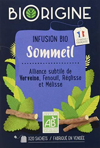 BiOrigine – Infusion bio Sommeil – Verveine, fenouil, réglisse & mélisse – Ingrédients d'origine naturelle – Fabriqué en France – 20 sachets