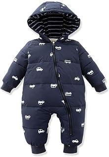 Baby Nest ベビー服 長袖カバーオール ロンパース ダウンコート フード付き 男の子 保温 防寒 秋冬用