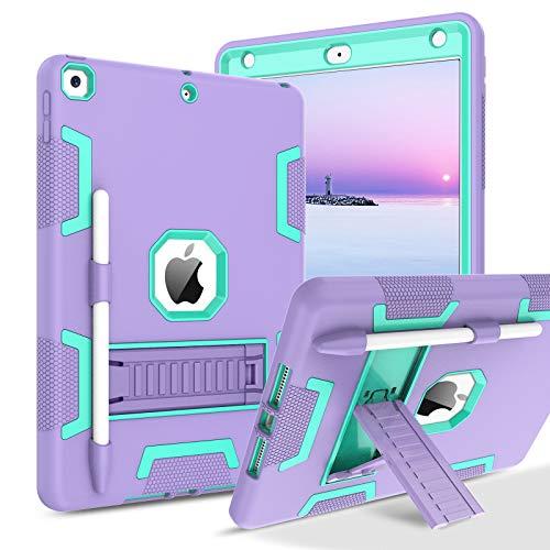 BENTOBEN, custodia per iPad di 8a generazione, iPad 7a generazione, iPad 10.2 2020/2019, custodia 3 in 1, resistente, antiurto, con cavalletto ibrido a tre strati con portapenne, viola/verde