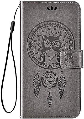 IKASEFU Compatible with Lenovo Vibe P1m Case Pu Leather Wallet Strap Case Card Slots Shockproof Magnetic Kickstand Slim Folio Flip Book Cute Emboss Owl Wind chimes Protective Cover Case,gray