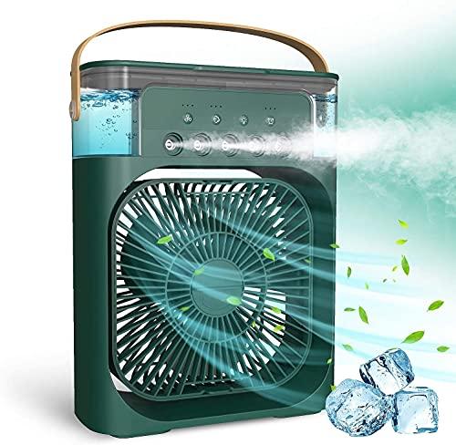 Mini Enfriador de Aire Acondicionado Portátil,Aires acondicionados móviles,5 en 1 Enfriador de Aire con Función de Humidificación,5 Sprays/3 Temporizadores/3 Niveles de Potencia/7 Colores