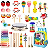 AOKIWO Kids Musical Instruments, 33 Pcs 20 Types Wooden Instruments Tambourine Xylophone Toys for Kids...