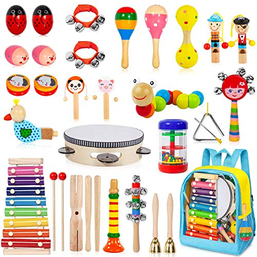 AOKIWO Kids Musical Instruments, 33 Pcs 20 Types Wooden Instruments Tambourine Xylophone Toys for...