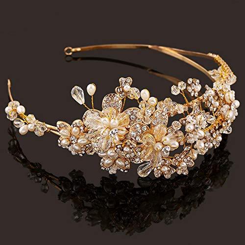 QWEASDAccesorios para el Cabello de la Boda JoyasHechas aMano Oro Cristal Perla Vid Flor Corona y Tiara Barroco Novia Diadema Nupcial