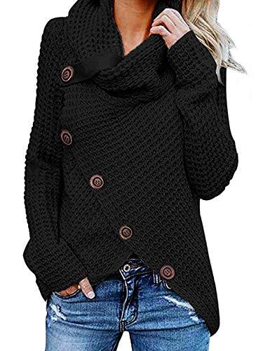 kenoce Damen Stilvoll Rollkragen Pullover Wrap Casual Schlank Strickjacken Vintage Cardigan für Winter Herbst Stylisch Sweatshirts Mesh 01-Schwarz S