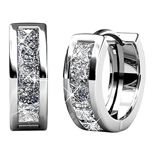 Cate & Chloe Giselle 18k White Gold Plated brass Crystal Hoop Earrings with Crystals, Small Hoops, Hypoallergenic