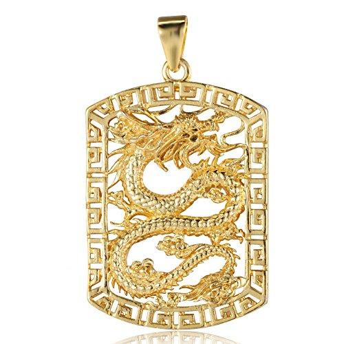 Sonew Colgante de Collar para Hombre Chapado en Oro Cuadrado Hueco de dragón Tallado Colgantes sólo Joyas Regalos para Hombre