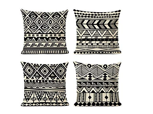 Jwqing Pack of 4 Decorative Pillow Covers Retro Nordic Style Ethnic Geometric Pattern Square Cushion Cover Throw Pillow Covers Home Decor for Sofa Bedroom-F_50x50cm(Cushion_Cover)