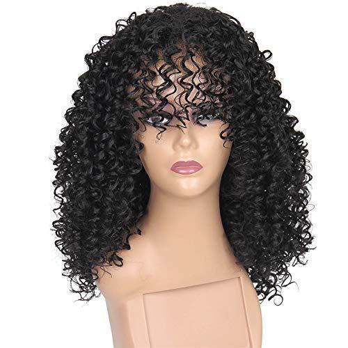 YLE Black Oblique Bangs Bob Gelockt Damen kurzes, krauses Haar, Mode-Stil/Schwarze Perücke/lockiges Haar (14 Zoll)