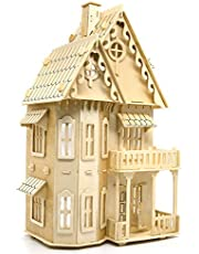 Gothic House 3D Stereo Wooden Puzzles DIY Dollhouse Miniature Kit - Child Interactive Educational Toys Set