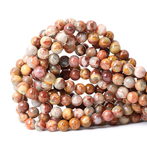 Qiwan 45PCS 8mm Natural Red Crazy Lace Agate Gemstone Loose Beads Crystal Energy Stone Healing Power...