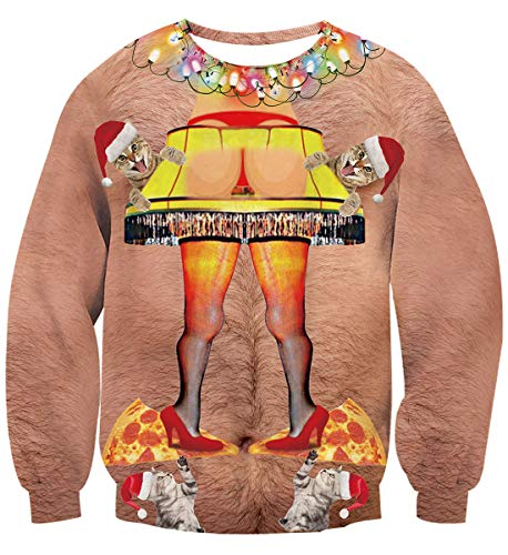 Idgreatim Teens Boys Girls Funny Hair Butt Light Graphic Pullover Ugly Christmas Sweatshirt Sweater S