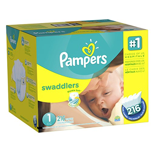 Diapers Newborn / Size 1 (8-14 lb), 216 Count - Pampers Swaddlers Sensitive Disposable Baby...