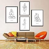 HUANGXLL Pintura de Lienzo Minimalista Moderna Líneas corporales de Yoga Impresión de Arte en Blanco y Negro Póster Imágenes Decoración para el hogar Sala de yoga-30x42cmx2-25x42cmx2 Sin Marco