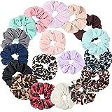 Ondder - Paquete de 18 coleteros de gasa para mujer, incluye 12 extensiones de pelo de gasa de colores sólidos y 6 colores de leopardo, estampado de animales, gasa