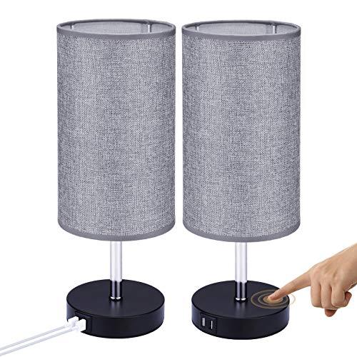 Glighone E27 Tischlampe Nachttischlampen mit 2 USB Anschluss, Nachttischlampe Touch Dimmbar, und Dimmbirne Schreibtischleuchte Stoff Lampenschirm Nachtlicht für Schlafzimmer Wohnzimmer, 2PCS
