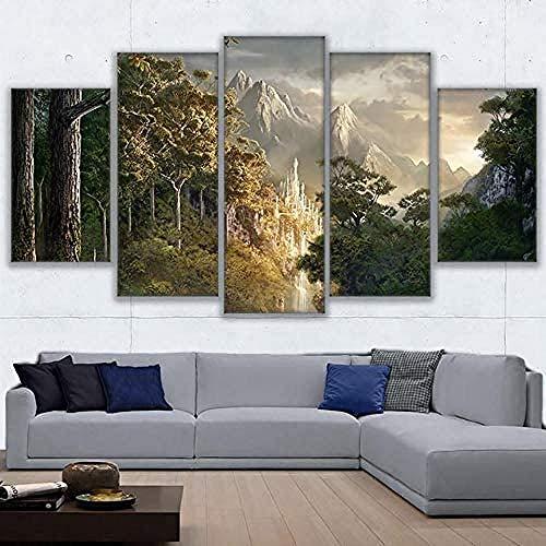 MSKJFD 5 Piezas Lienzo Grandes Murales Pared Hogar Pasillo Decor Arte Pared Abstracto HD Impresión Foto Regalo Canvas De 5 Pieza Escena De Película, Anillos, Castillo
