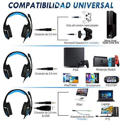 Galopar Gaming Headset, Gaming Kopfhörer mit Mikrofon, Bass Stereo Surround, kompatibel mit PS4 / Xbox One/PC/Laptop/Nintendo Switch und Mobile