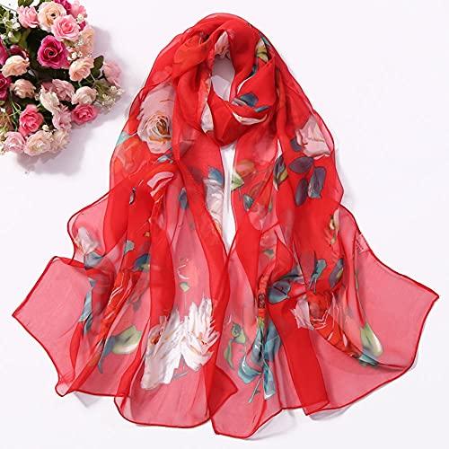 Vcnhln Moda Verano Mujer Estampado Floral Playa Chal Bufanda de Seda Chal Mujer Bufanda Fina Protector Solar Turbante Bufanda