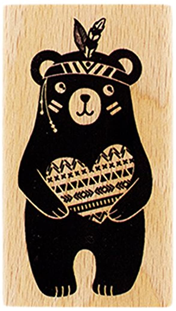Florilèges Design Stamp fd216020?Wood Bear Big Heart 7?x 4?x 2.5?cm