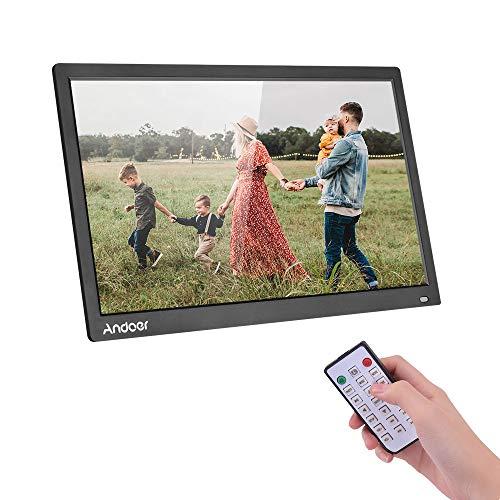 """Andoer 17\"""" Digital Fotorahmen, LED Fotoalbum 1080P 1440 * 900 HD Bildlauf mit Bildunterschriften MP3, MP4, Kalender, Touch Tasten und Fernbedienung, Weihnachts- und Geburtstagsgeschenk"""
