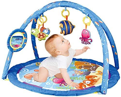 SCLL Arc de Jeu pour bébés avec 4 Jouets Suspendus et Couverture d'activité pour bébé Miroir avec Tapis Souple pour Filles et garçons 0-36 Mois, Stable