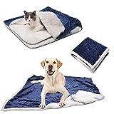 Guangyu Manta Impermeable para Perros Gatos Mascotas,Manta Lavable de Felpa,Antideslizante con Suave Sherpa para Sofá Coche Interior y Exterior (Azul)