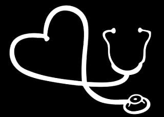 """BKS- Heart Stethoscope Car Window Stickers Vinyl Decal 6"""" White Styling Decoration for Car Accessories Laptop Wall Tool Box Removeable Motorcycle Bumper"""