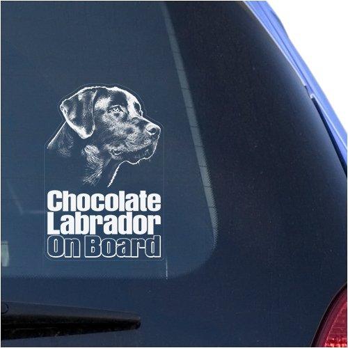 Vinyl-Aufkleber für Fenster, Retriever-Hundeschild, Motiv Schokoladen-Labrador, transparent