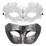 Masque de fête du Couple Masques de Mascarade vénitienne Mardi Gras Halloween Costume...