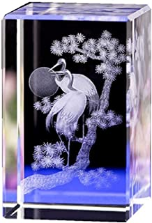 Crystal 3D Laser Statue Decor Songhe Yannian Crystal Ornaments Crane Crystal Carvings to Send Elder Crystal Products