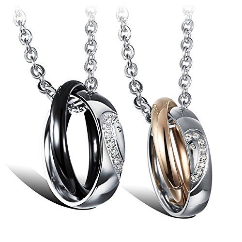 Cupimatch 2PCS Pärchen Kette Herren Damen Edelstahl Puzzle Herz Ringe Anhänger Paar Halskette mit Gravur, Weihnachten 50cm, 55cm Kette