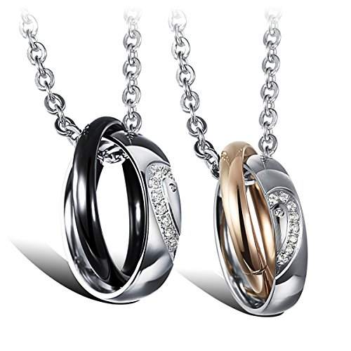 Cupimatch 2 Pieces Couples Necklace with Stainless Steel Heart Matching Interlocking Rings Pendant & Chain